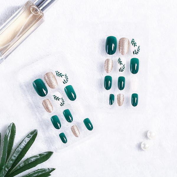 24Pcs/Set False Nail Tips Women Leaf Pattern Green Nail Art Fingernail Artificial Fake False Nails Art Tools
