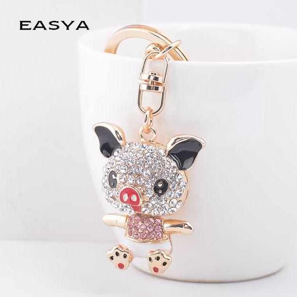 EASYA High Quality Cute Pig Pendant Charm Keychain Key Holder Crystal Rhinestone Car Key Chain Chaveiro