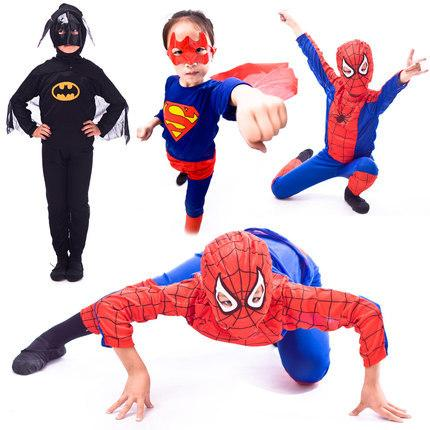 New 2018 Halloween Performance Apparel Children's Clothing Spider Man Bat Man Super Suit For Child Party Dress For Kid