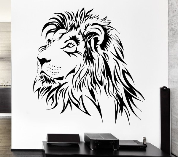 Removable Lion Wall Decal Tribal Zoo Animal Vinyl Stickers for living room home Wall decoration
