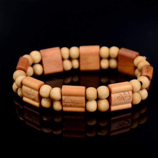 Décor carré perles de prière Naturel À La Main Bracelet Bracelet Poignet Ornement En Bois Bouddha Perles Femmes Hommes Bijoux