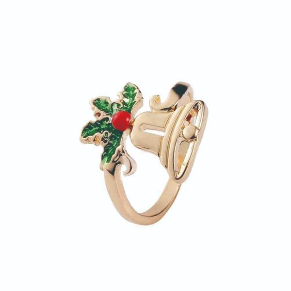 Christmas Open Finger Ring Gifts Christmas Snowflake Santa Claus Jungle Bell Antler Rings for Girl and Child #290294