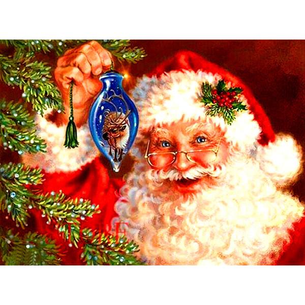 Pintura diamante 5D DIY Full Father Natal Diamante Bordado Ponto Cruz Needlework Rodada Strass Quarto Decoração Presente