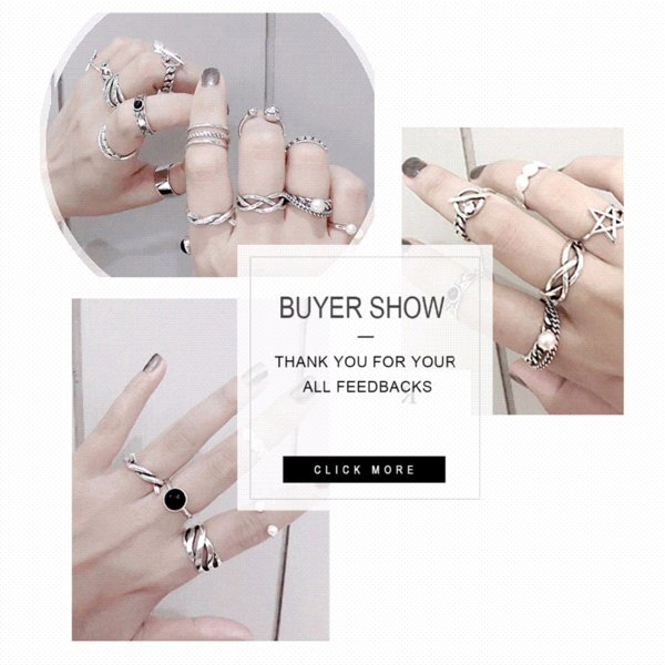 TARDOO Mix Match Genuine 925 Sterling Silver Adjustable Cuff Ring Sets Punk and Trendy Fine Jewelry for Women