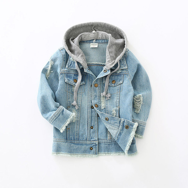 top popular Toddler Kids Denim Jacket Baby Boys Clothes 2018 Autumn Children Long Sleeve Hooded Coat Jaqueta Jeans Infantil Manteau Garcon 2021