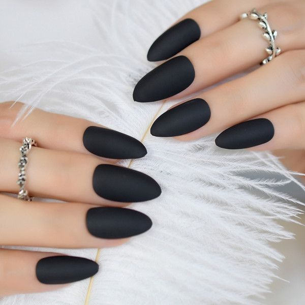Fashion Matte Press On Nails Cool Black Almond Fake Nail Tips Artificial Manicure Tips Fingernails Easy Use