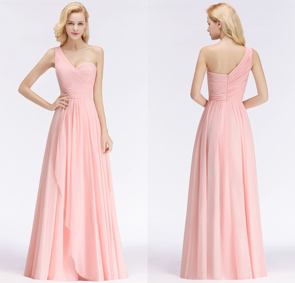 Real Photos 2019 Designer Candy Pink Chiffon Long Bridesmaid Dresses Custom Made One Shoulder Formal Wedding Guest Party Gowns BM0045