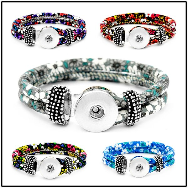 5 Styles 18mm Leather Snap Strands Button Bracelet Floral Button Bangle Wrist Watches Noosa DIY Jewelry for Women