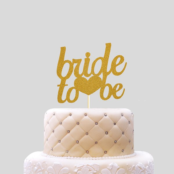 Bride to be Cake Topper Cupcakes flag Bridal Shower Supplies Gold Glitter Paper Bachelorette Hawaiian wedding party decor