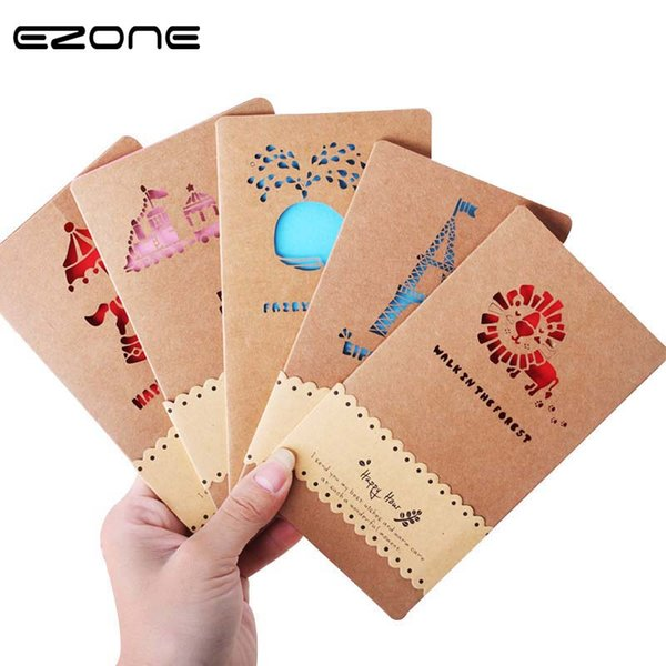 EZONE Hollow Kraft Paper Greeting Card Printed Cute Kawaii Lion/Whale/Panda/Horse Envelope Creative Message Card Office Supply