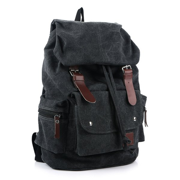 20pcs Outdoor Canvas Backpack Vintage Military Leather Rucksack Laptop Backpack Satchel School Bag for Men Women Traveling Hiking