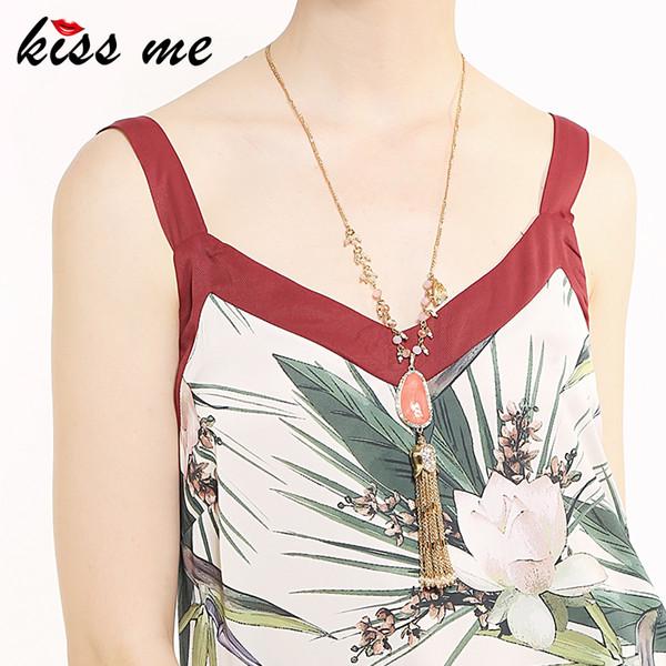 KUSS mich rosa unregelmäßigen Acryl Anhänger Halskette Gold Farbe Legierung Pullover Kette Quaste lange Halskette Großhandel Frauen Zubehör