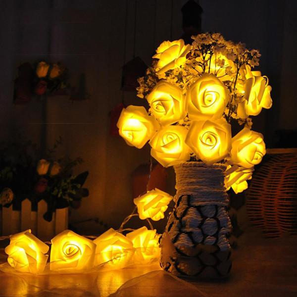 LED Rose Light 10LED 20LED 40LED 8 Colores Flower String Lights AAA Battery Panel Solar Garden Party de Navidad Home Deco