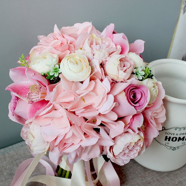 26cm Pink Silk Wedding Bridal Bouquet Artificial Rose Hydrangea