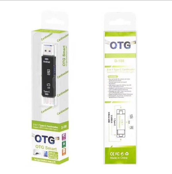 Multifuncional Tipo C OTG Leitor de Cartão USB 2.0 Adaptador de Leitor de Cartão de Memória com Interface USB Feminino para o Telefone Móvel PC