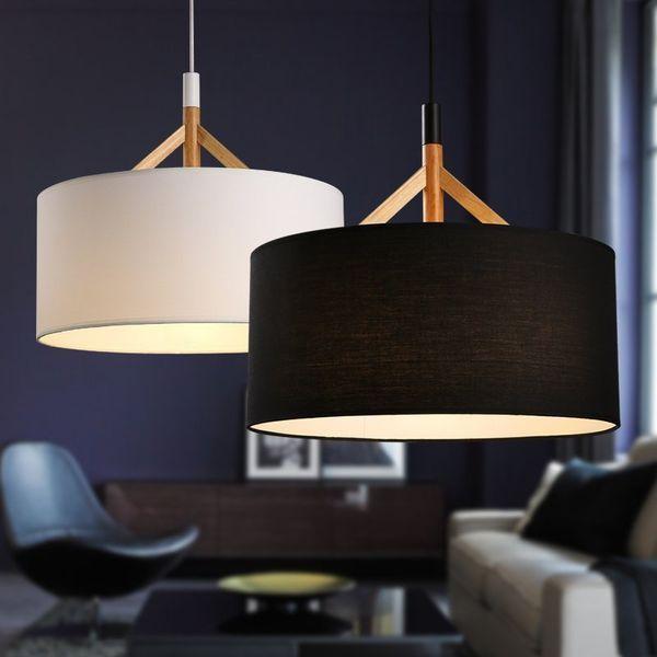 Grosshandel Moderne D44cm Stoff Lampenschirm Pendelleuchten Nordic Wohnzimmer Schlafzimmer Decke Hangen Lampe Amerikanischen Stil Holz Stoff