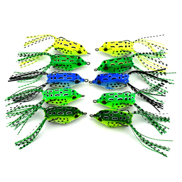 10pcs/lot Frog Fishing Lure Soft Plastic Bait with Hook Lures Top Water Fishing Tackle Artificial Bait Minnow Frog Lure