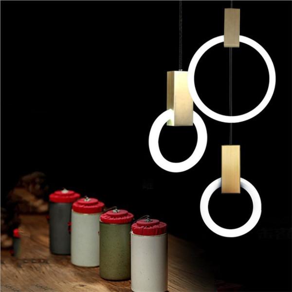 Nordic Minimalist Rings Pendant Lamp Arcylic Circle Wood Art Led Ring Light Luxury Hotel Room Living Room Cafe Light Fixture