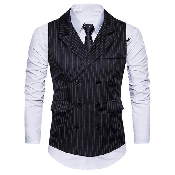 New Brand Men Formal Cotton Tweed Check Double Breasted Waistcoat Retro Slim Fit Suit Jacket High Sales Roupas Masculina #BB
