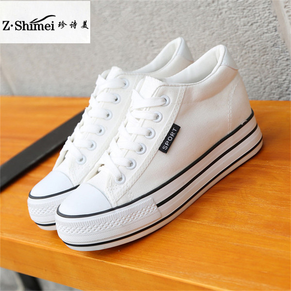 Acheter Mode Bas Haut Baskets Toile Chaussures Femmes Casual Chaussures Blanc Semelle Épaisse Femelle Panier À Lacets Solide Baskets Chaussure Femme