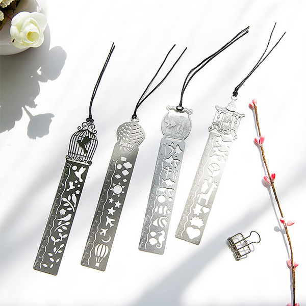 top popular 4 Styles Classical Metal Ruler Bookmark Creative Student Gifts Antique Gifts Retro Stationery Steel Ruler Free DHL 2021