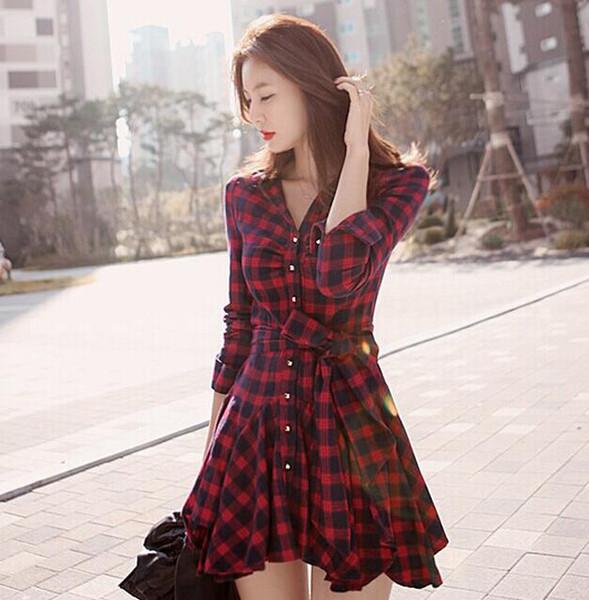 Wholesale Free Shipping Fashion 2018 Fall Casual Dress Skirt Temperament Waist Red Plaid Long Sleeve Dress S-XXL