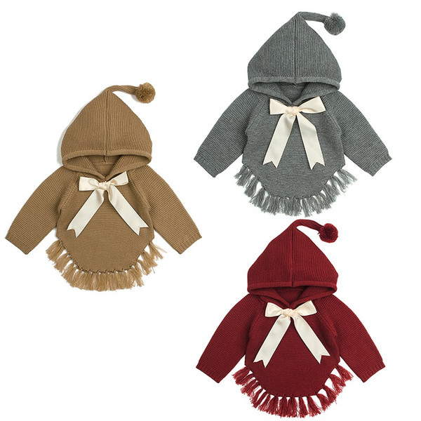 Baby Girl knitted Girls Sweaters Cape Hooded Autumn Children Bow Knitted Cardigans Fringe Toddler Children Jackets Baby