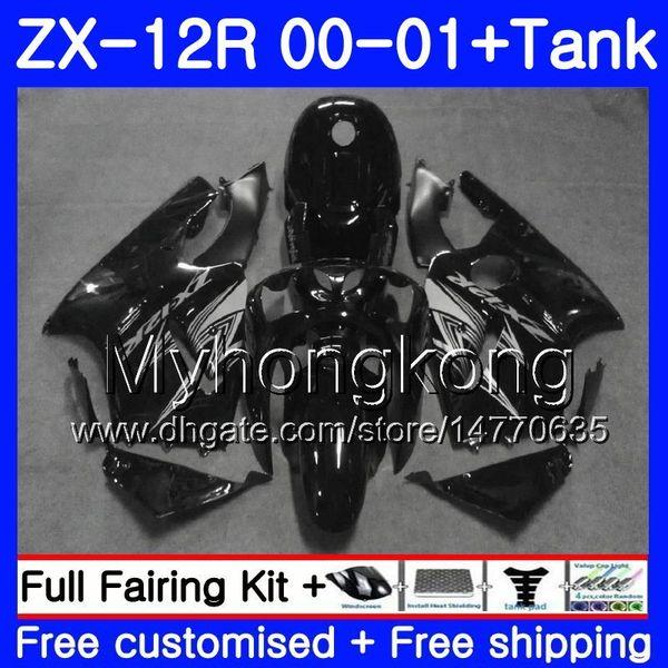 Einspritzung + Behälter für KAWASAKI NINJA ZX1200 C ZX 12R 00 01 222HM.9 ZX 12 R 1200CC Schwarz Silber heiß ZX12R 00 01 ZX-12R 2000 2001 Verkleidungskit