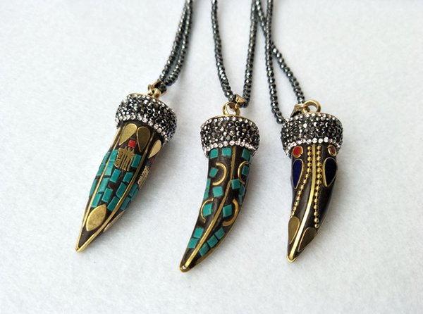 5 Strands Hematite beads necklace,OX Horn shape copper Pendants pave Crystal Rhinestone Charm Boho Jewelry necklaces NK292