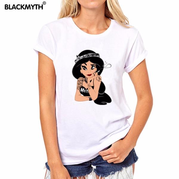 Camiseta de mujer con estampado de dibujos animados Patrón de manga corta blanca Encantadora camiseta con estampado de tatuaje con tapa o cuello