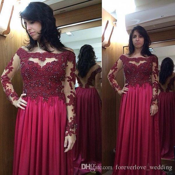 2018 Plus Size Red Prom Dress Sheer Neck Illusion Beaded Long Sleeve A-Line Floor Length Chiffon Evening Bridesmaid Dress Veasido de Fiesta