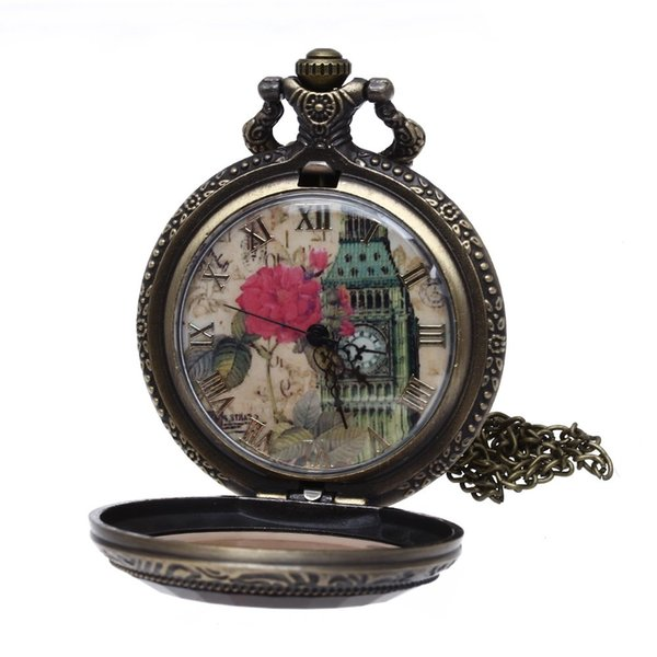 Quartz Bronze alloy Necklace pocket watch with painted flowers belfry