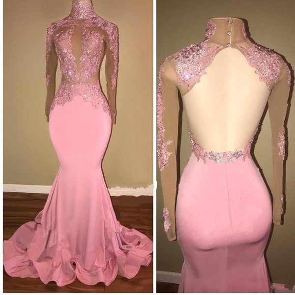 2018 Arabic Pink Applique High Collar Prom Dresses Mermaid Keyhole Lace Beaded Sequin Sheer Long Sleeves Open Back Black Girls Evening Gowns