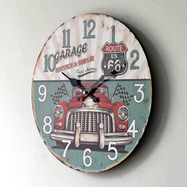 Telaio nuovo grande orologio da parete calda della decorazione della casa Continental retro annata di legno Car Orologi da parete
