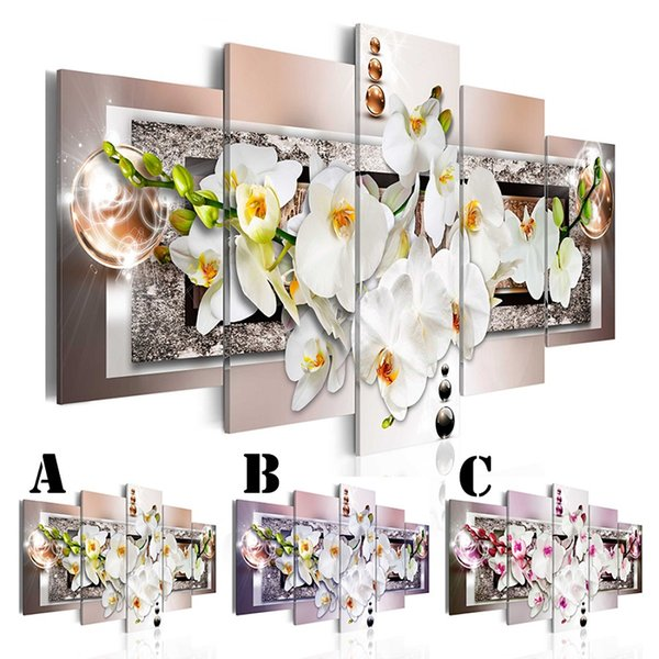 Wall Art Picture Printed Oil Painting on Canvas No Frame 5pcs/set Home Decor Extra Mirror Border Orchids Flowers and Shinny Ball