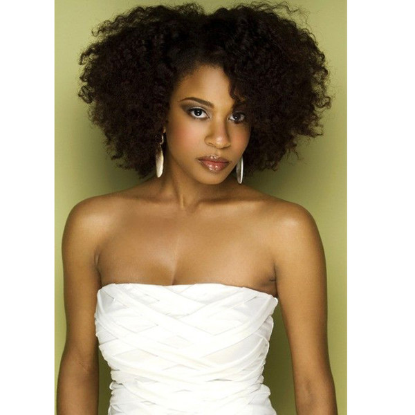 Top quality brazilian Hair African Ameri afro black short bob curly wigs Simulation Human Hair kinky curly wig for ladies