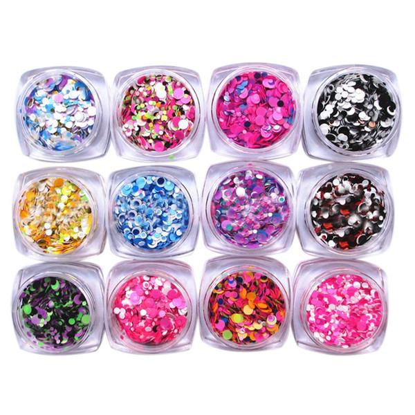 Nail Art Glitter Pó Poeira Para O GEL UV Acrílico Em Pó Lantejoulas Dicas de Decoração, # 4 12 Pçs / set