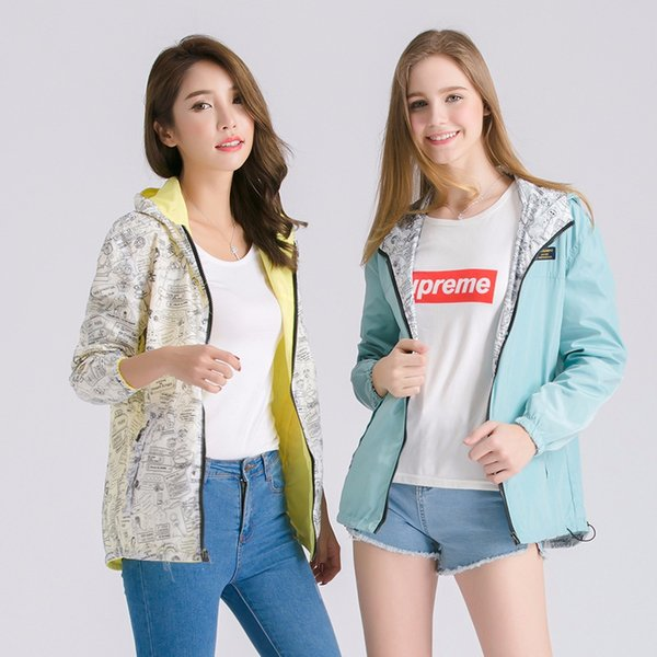 women's wear on both sides of the loose large size student jacket women's hooded jacket small coat