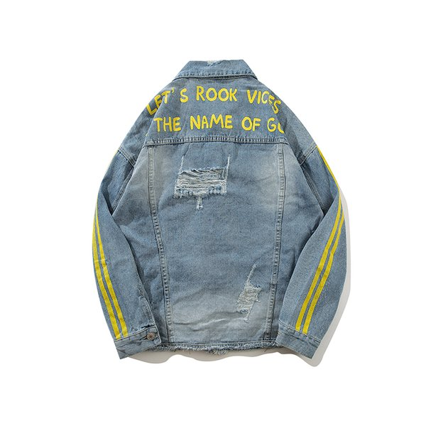 Mens lavato buco Do Old Denim Jacket Masculine 2018 High Street New Tide Marca Letter stampa a righe giacca allentata uomo