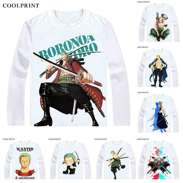 COOLPRINT ONE PIECE T-Shirts Long Sleeve Shirts Anime Manga Wan Pisu Straw Hat Pirates Roronoa Zoro Pirate Hunter Zoro Cosplay Shirt
