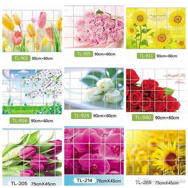 Wholesale- Home Decoration Accessories Waterproof Aluminum Foil Wall Sticker Tiled Kitchen Bathroom Wall Decoration Tulip Flower Rose
