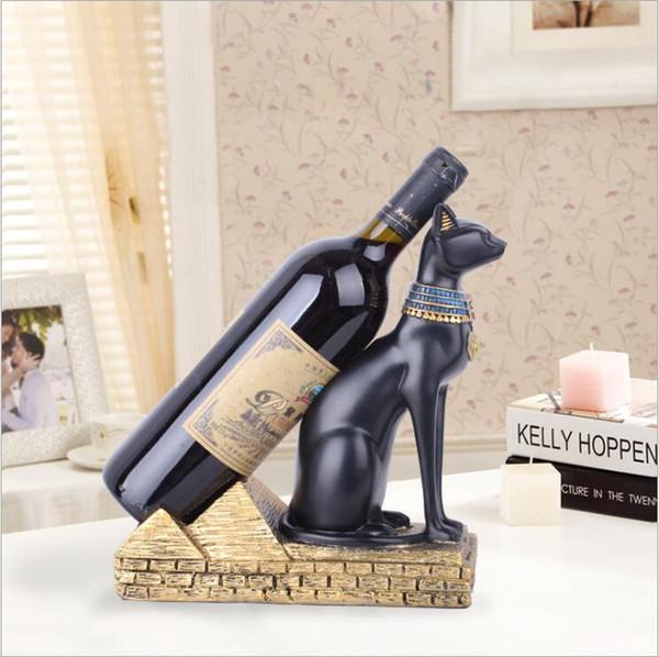 NEW Баст Фигурка Wine Rack Cork 2019 Контейнер Держатель бутылки Кухня Бар Дисплей Cat Вино Craft Подарочные Handcraft животных Вино Стенд