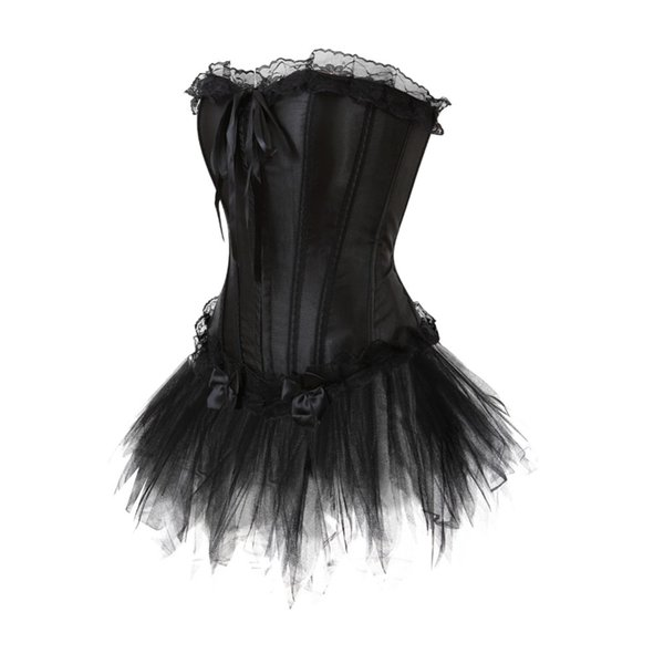 Women Waist trainer LaceTrim Corset Dress Sexy Lace up Boned Satin Bustier Corset With tutu Skirts Plus Size S-6XL