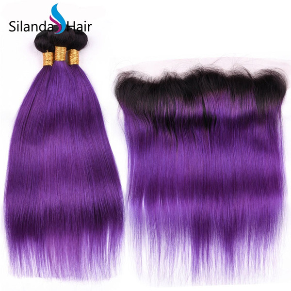 Silanda Hair Ombre Color #T 1B/Purple Straight Brazilian Remy Human Hair Weave 3 Bundles With 13X4 Lace Frontal Closure Free Shipping