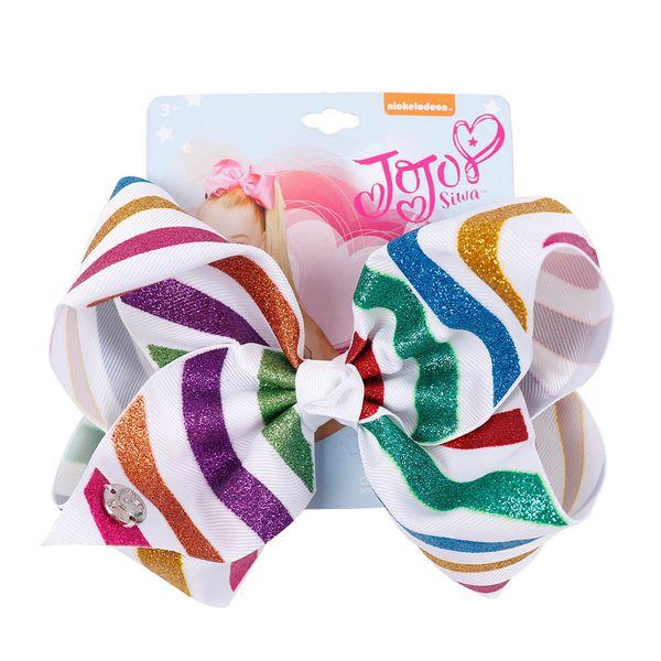 7'' Big Girls Rainbow Stripe Hair Bows Bling Glitter Hairbow For Kids Back To School Hair Clips Handmade Hair Accessories