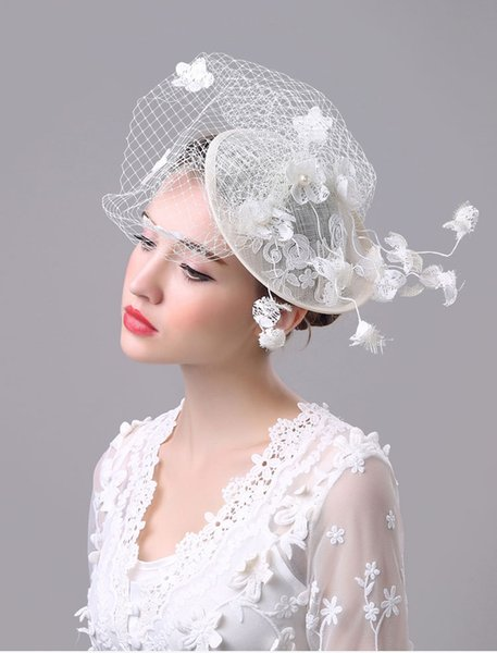 White Mexican Western Style Ladies Classic Bridal Hats Small Cap Fascinator Sinamany Hats For Party Banqut Wedding