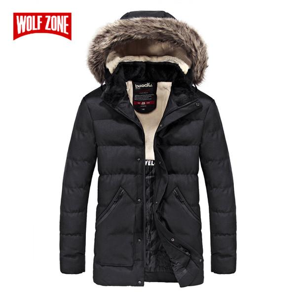 Großhandel WOLF ZONE Mode Schlanke Winterjacke Männer Warm Parka Mit Kapuze Lässig Mantel Hohe Qualität Winddicht Reißverschluss Kleidung Herren