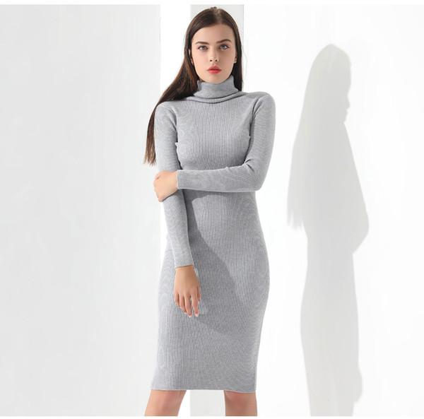 da5c4f2bd7e42 Vestidos Kazak Elbise Kadınlar Örme Kış Uzun Kollu Elbise Femme Balıkçı  Yaka Siyah Elbise Sıcak Sonbahar
