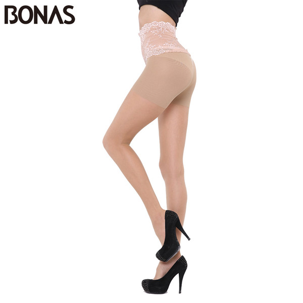 BONAS Black Lace Waist Nylon Tights Women Hosiery Seamless Hollow Pantyhose Summer Fashion Female Nylons Tights For Girls Solid