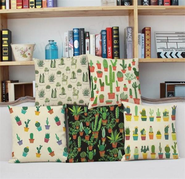 Planta Tropical Cacto Fronha De Linho De Algodão Decorativo Fronha Sofá Capa de Almofada Cactus Fronha Capa